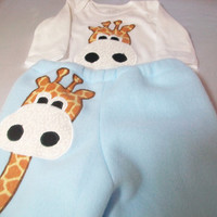 Giraffe Baby Clothes - Baby Boy Outfit - Newborn Boy Clothes - Appliqued Bodysuit