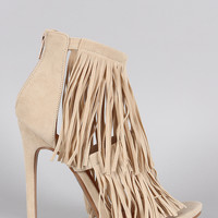 Shoe Republic LA Suede Fringe Open Toe Heel