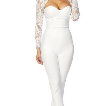 Together As One White Sheer Lace Long Sleeve Cut Out Sweetheart Neckline Bandage Jumpsuit