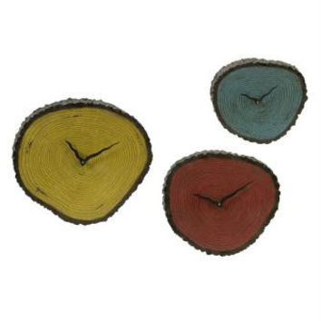 3 Wall Clocks - Sliced Log Inspired