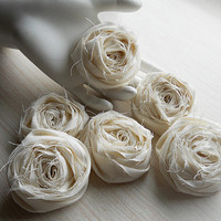 "2"" Ivory Shabby Chic Cotton Rolled Roses Set of 20 for bouquet making, diy weddings, mason jars, shabby chic rustic weddings. Made to Order."