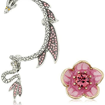 "Betsey Johnson ""Memoirs of Betsey"" Flower Stud and Dragon Ear Cuffs"