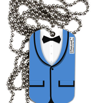 Blue Tuxedo Suit Costume Adult Dog Tag Chain Necklace