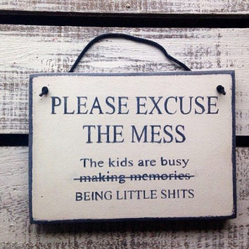 Funny Rustic Sign. Please Excuse The Mess. Kitchen Decor.