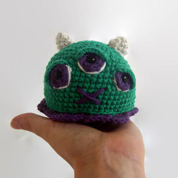 introverted blob monster, crochet plush, amigurumi, wool stuffed, cotton, fiber art, sustainable, ecofriendly