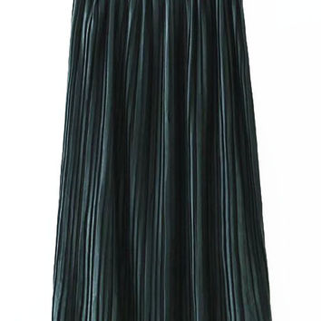Dark Green Pleated Long Skirt