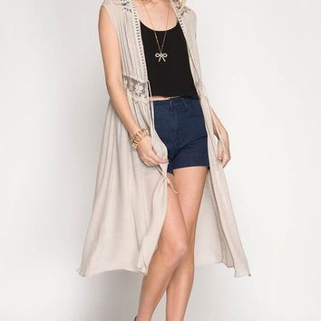 Sleeveless Midi Cardigan Vest with Lace Trim & Tie Waist - Stone