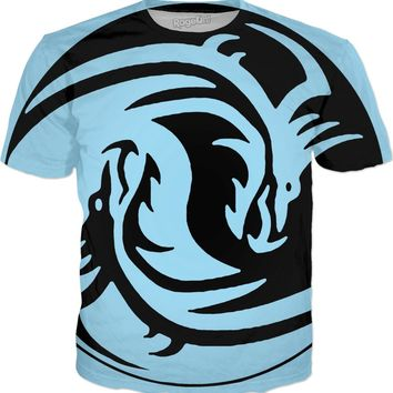 Yin and Yang blue and black, tribal dragons all-over-print tee shirt, vector design