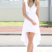 White Sleeveless Asymmetric Dress with Tie Up Corset Top