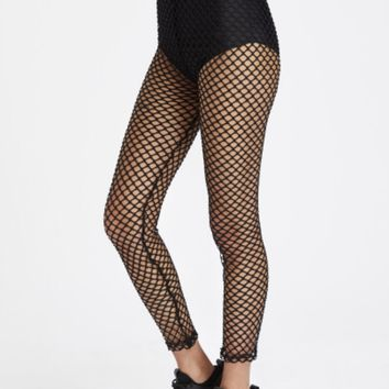Teen Girls Black Fishnet Leggings