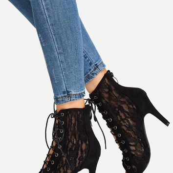 Lace-Up Lace Peep Toe Boots