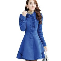 Partiss Womens Ruffles Collar PeaCoat