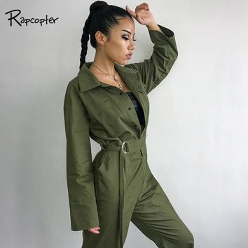 Rapcopter Women Tooling Type Jumpsuits Female Cotton Loose Bodysuits Woven Streetwear Loose Jumpsuit Sashes Full Length Jumpsuit