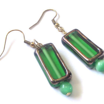 Lantern earrings green colour glass beads