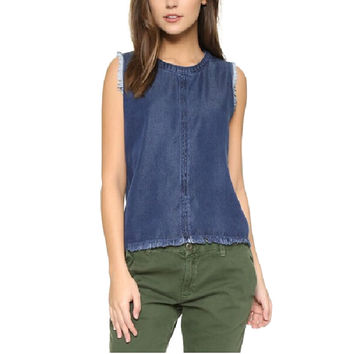 Women classic blue denim tencel shirts tassel blouse sexy sleeveless o-neck ladies summer streetwear casual tops blusas WT327