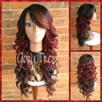 READY To SHIP // Long Curly Full Wig, Ombre Wig, Wig with Lace Part, Bombshell Wig // FORGIVE (Free Shipping)