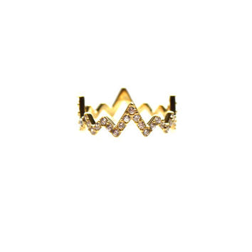 Pave Heartbeat Ring in Gold