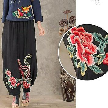 Long thin elastic waist black embroidery harem pant