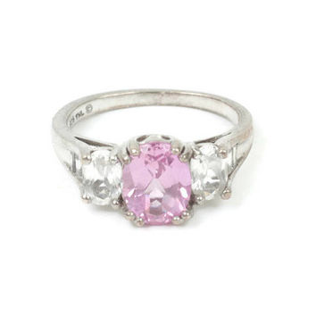 CZ Pink and Clear Stone Ring Gemstone Sterling Cocktail Dinner Ring Vintage Size 7