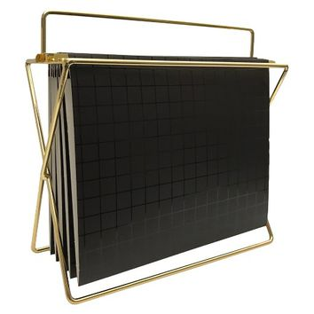 Hanging File Holder with Folders Gold/Black Grid - Project 62™