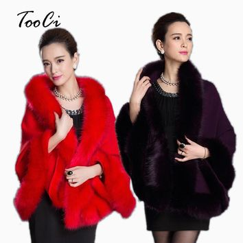 Fashion Winter  Womens Leather Grass Fox Fur Collar Poncho Cape Bridal Wedding Dress Shawl Cape  Lady Wool Vest Fur Coat