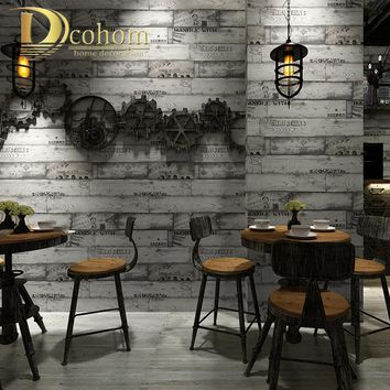 Non-Woven Vintage Wallpaper Industrial Letters Wood Panel Wall Paper Roll Coffee Shop & Bar & Restaurant Wallpapers