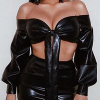 Black Faux Leather Off Shoulder Backless Bodycon Two Piece Clubwear Party Midi Dress
