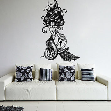 kik1109 Wall Decal Sticker mermaid siren sea nymph naiad anchor living room bedroom