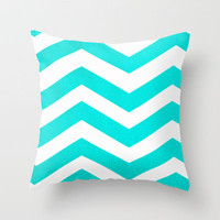 Chevron Blue Pattern Throw Pillow by unidostees | Society6