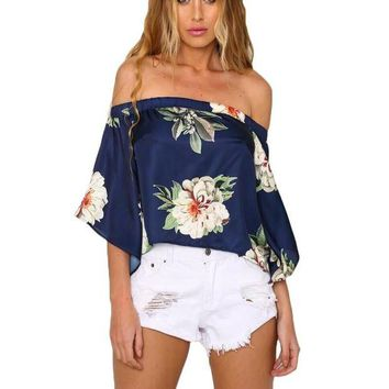 DCCKHY9 2016 Summer Elegant Satin Off Shoulder Floral Print Blouses Flared Sleeve Sexy Open Back Shirts De Festa Club Navy Tops Blusas