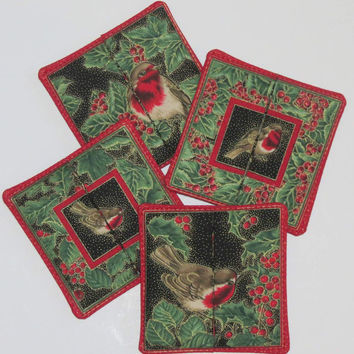 Set of Four (4) Reversible Coasters, Birds, English Robin, Black, Red, Green