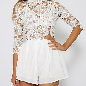 FASHION 3/4 SLEEVE LACE ROMPER