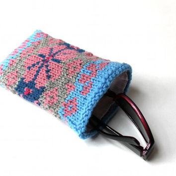 Knit Glasses Case, Unique Eyeglass Case, Mothers Day Gift, Pink Glasses Holder, Hand Knit Fair Isle, Spring Pink Flower Sunglass Case