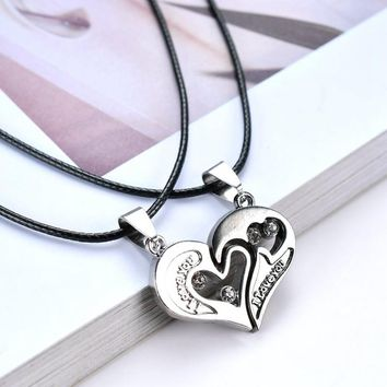 2 PCS/lot Couple Necklace Pendant Love Heart Puzzle Matching Two Halves Heart for Lovers Memorial Day Gift  Paired Necklace