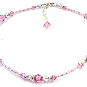 Pink Tourmaline October Birthstone Handmade Crystal Beaded Anklets Bracelets