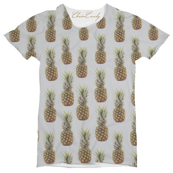 ChainCandy Allover Printed Vintage Pineapple Oversized t shirt