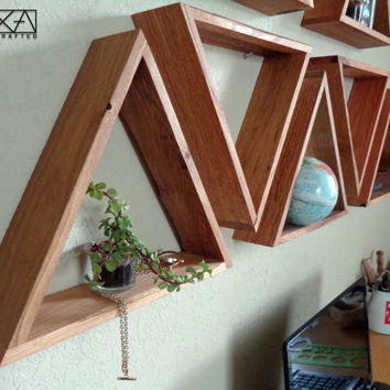SINGLE Wood Geometric Triangle Shelf,  entryway organizer, floating shelf, bathroom shelf, industrial shelf, modern shelf, gift for her,