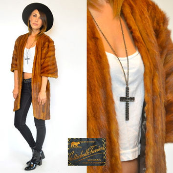 SABLE MINK glam bohemian fur shrug wrap STOLE jacket, one size fits all