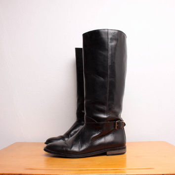 Vintage 1980s Harness Riding Boots in Black by pineapplemint