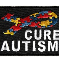 "Embroidered Iron On Patch - Cure Autism Puzzle Ribbon 2.75"" Patch"