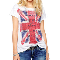 The Union Jack Letter Print Short Sleeve Graphic T-shirt