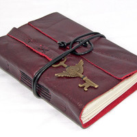 Deep Cherry Red Leather Journal with Winged Clock Key Bookmark