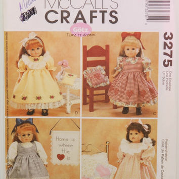 "McCall's 3275 (c. 2001) McCall's Crafts 18"" Doll Clothes Patterns, Fashion Doll, Doll Dresses and Accessories, Play Time, Gift Idea, Sewing"