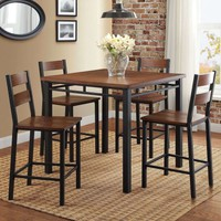 Better Homes & Gardens Mercer 5-Piece Counter Height Dining Set, Includes Table and 4 Chairs, Vintage Oak Finish - Walmart.com