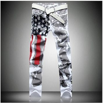 Original Designer Jeans men robin jeans Famous brand Denim with Wings American Flag