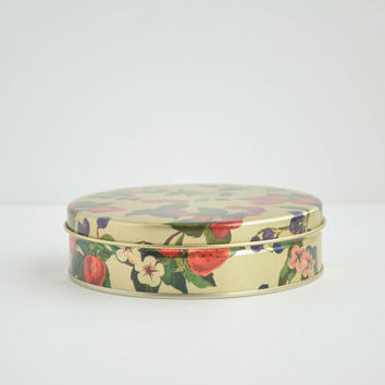 Vintage Round Fruit Tin - Floral - Berry Design