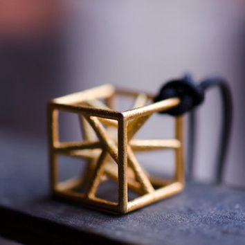 Jewel 3d printed necklace golden metal pendat in the shape of a stylized cube star hypercube exclusive innovative design stainless steel