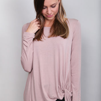 Knot Your Basic Long Sleeved Tee {Light Mocha}