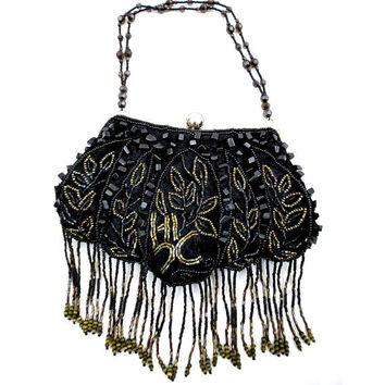 Black Velvet Evening Bag, Black & Gold Beaded Purse, Black Beaded Fringe, Black Glass Beads, Gold Bugle Beads, Formal Purse New Years