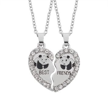 2pcs Creative Best Friends Forever Necklace Full Rhinestone Broken Heart Panda Necklaces Friendship BFF Jewelry Drop Shipping